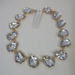 Ann Taylor Crystal Teardrop Statement Necklace NWT